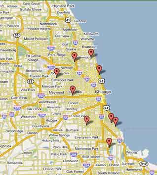 Chicago Golf Courses Map